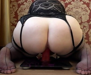 Mature plumper jerks with a..