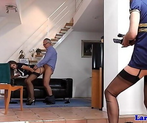 British milf shares shaft..