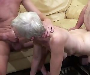 Old lady makes a three-way..